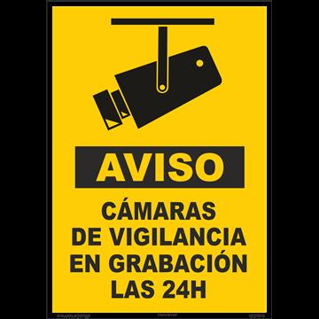 Cartel Aviso Camaras de vigilancia 24 h