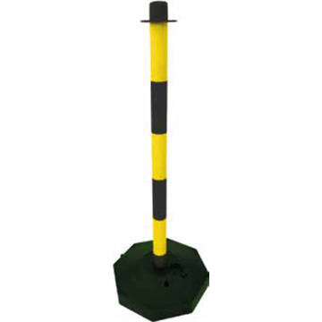 Poste Señalización con Base - Amarillo/Negro