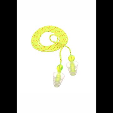 Tri-Flange Tapones reutilizables con cordón de algodón  (100 PARES)
