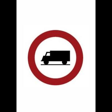 Entrada prohibida a vehículos  transporte de mercancias