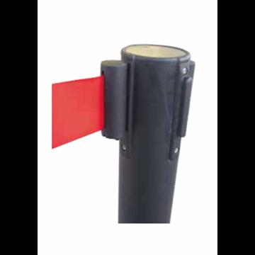 Poste Negro con Cinturón Retráctil - Rojo