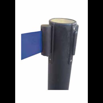 Poste Negro con Cinturón Retráctil - Azul