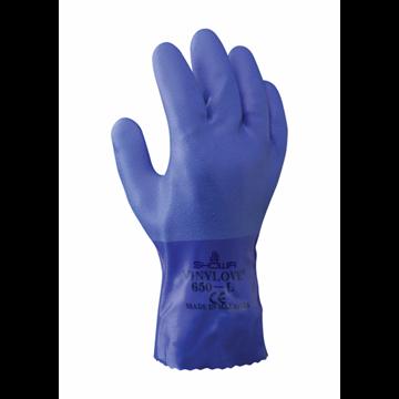 Guante de algodón con revestimiento de PVC azul, 250 mm de largo