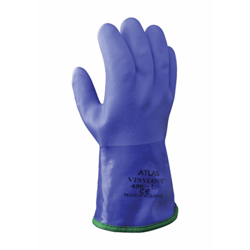 Guante de protección contra el frío Forro de algodón Revestimiento de PVC Forro acrílico extraíble