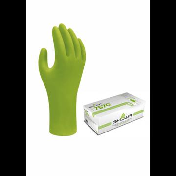 DISPENSADOR Guante verde de alta visibilidad desechable 0,10 mm de grosor 240 mm de largo 100% nitrilo, sin polvo, sin silicona
