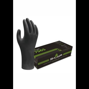 DISPENSADOR Guante negro desechable, 0,15 mm de grosor 300 mm de largo, 100% nitrilo, sin polvo, sin silicona