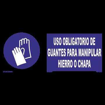 Señal: Uso obligatorio de guantes para manipular hierro o chapa