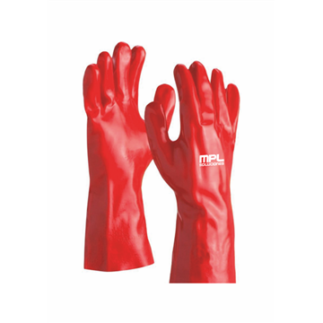 Guante fabricado en PVC rojo 35 CMS.