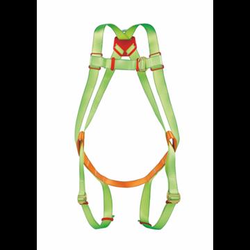 Arnés anclaje dorsal. Regulable en muslos y pecho, ajuste pectoral con hebilla metálica.