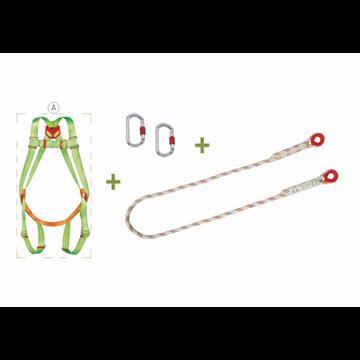 Arnés anclaje dorsal + elemento de amarre en cuerda de 1,5 m + 2 mosquetones + bolsa transporte con ventana.