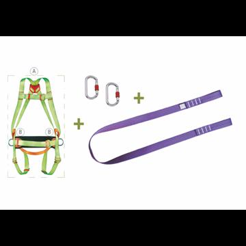 Arnés enganche dorsal + Cinturón de posicion + Cinta regulable de 1,5 m  + 2 Mosquetones + Bolsa transporte con ventana.