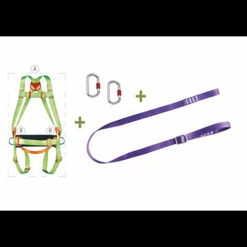 Arnés enganche dorsal + Cinturón de posicion + Cinta 2 m. regulable + 2 Mosquetones + Bolsa transporte con ventana