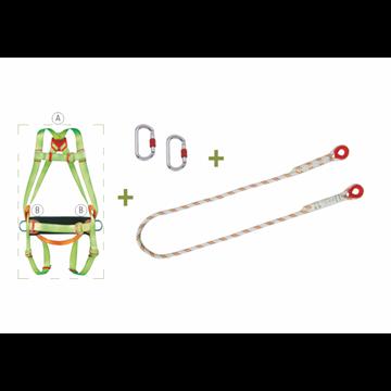 Arnés anti caidas de enganche dorsal + Cuerdade poliamida semiestática de 1.5 m. + 2 Mosquetones + Cinturón de posicion + Bolsa