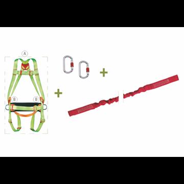 Arnés anticaidas enganche dorsal + Cinturón de posicion + Retráctil  en cinta con AB, largo 2,5 m + 2 Mosquetones + Bolsa de tra
