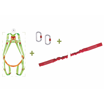 Arnés anclaje dorsal y frontal + cinta elástica de 1,5 m abierta + 2 mosquetones + bolsa transporte con ventana