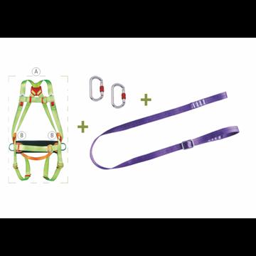 Arnés anclaje dorsal y frontal+ cinturón de posicion + cinta regulable de 2 m + 2 mosquetones + bolsa de transporte.