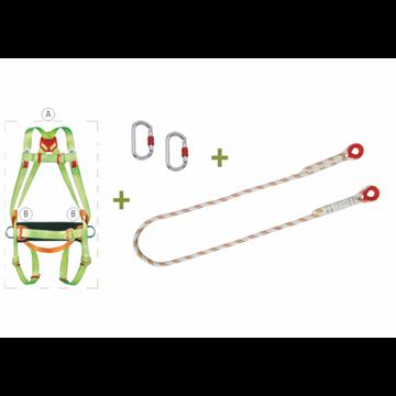 Arnés anclaje dorsal y frontal + cinturón de posicion + elemento de amarre/posicion en cuerda de 1,5 m + 2 mosquetones + bolsa d