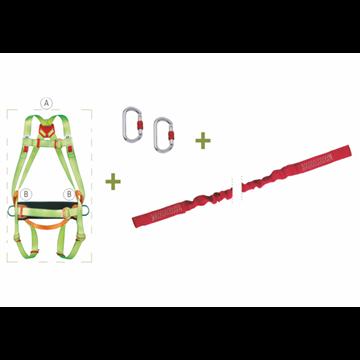 Arnés anclaje dorsal y frontal + cinturón de posicion + cinta elástica de 1,5 m abierta + 2 mosquetones + bolsa de transporte.