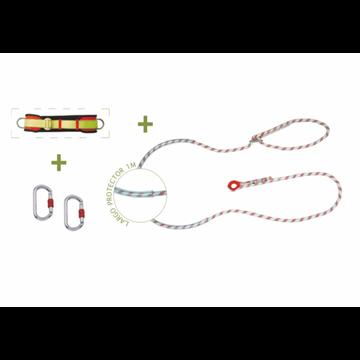 Cinturón de posicion + cuerda de posicion de 3 m con protector y ajuste manual + 2 mosquetones + bolsa transporte.