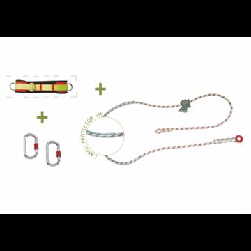Cinturón de posicion + cuerda de posicion de 3 m con protector y ajuste  + 2 mosquetones + bolsa transporte.