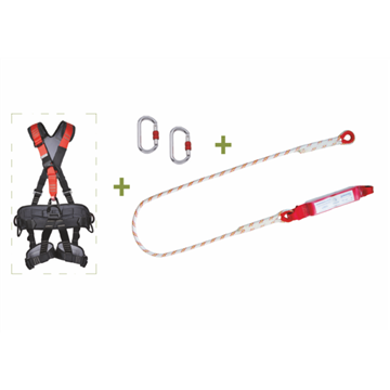 Arnés integral para trabajos en suspensión con 5 puntos de anclaje  + Cuerda 1, 5 metros con AB + 2 mosquetones + Bolsa de trans
