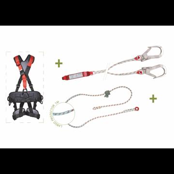 Arnés integral con espaldera acolchada envolvente + Elemento de amarre en Y en cuerda de 1,20 metros + AB10 + 2 mosquetones s +