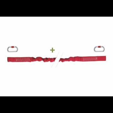 Elemento de amarre elástico en cinta 1m *44 mm (1,5 m en tensión) + 2 Mosquetones acero 18 mm.