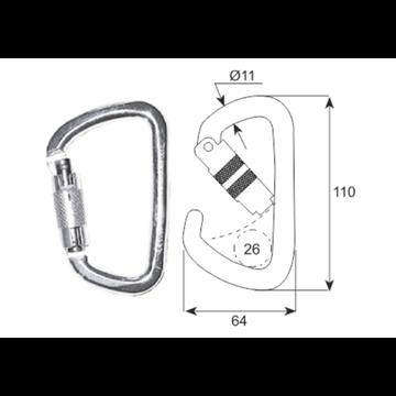 Mosquetón seguridad  asimétrico en acero, apertura 26 mm.
