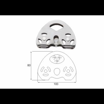 Polea doble de aluminio para cuerdas máx. Ø 12-13 mm.