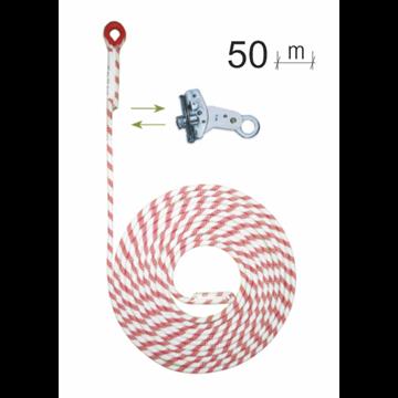 Línea de seguridad vertical en cuerda 50 m*12Ø mm + bloqueador   con seguro.