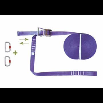 Línea de seguridad horizontal ajustable en poliéster 20 m. + 2 mosquetones.