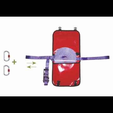 Línea de seguridad horizontal ajustable en poliéster 20 m. + 2 mosquetones + bolsa de transporte