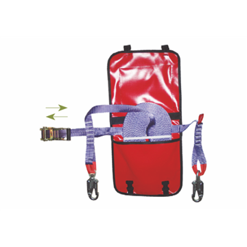 Línea de seguridad horizontal ajustable en poliéster 20 m + 2 mosquetones giratorios + bolsa de transporte