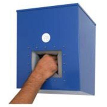 Dispensador de acero lacado en azul de mascarillas concavas