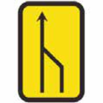 Señal de obra incicacion estrechamiento derecho a dos carriles
