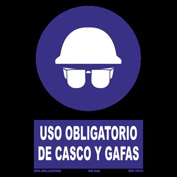 Señal: Uso obligatorio de casco y gafas