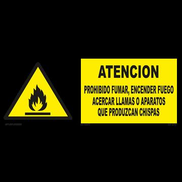 Señal: Atencion, prohibido fumar, encender fuego...