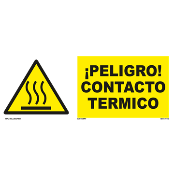Señal: ¡Peligro! Contacto termico