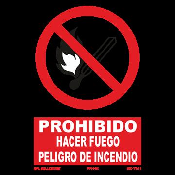 Señal: Prohibido hacer fuego peligro de incendio