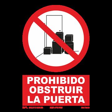 Señal: Prohibido obstruir la puerta
