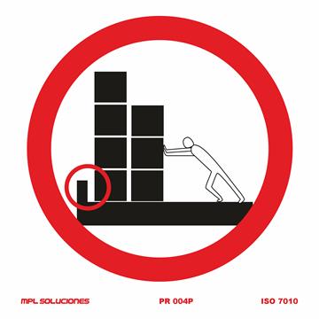 Señal: Prohibido colocar objetos sobre plataforma de trabajo sin rodapie