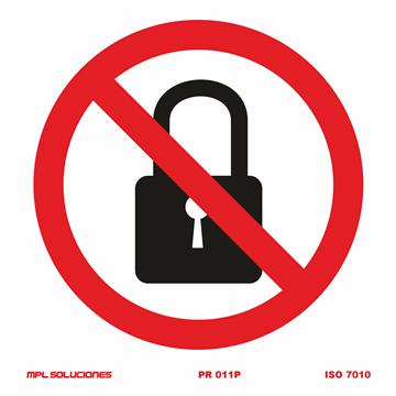 Señal: No cerrar con llave