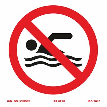 Señal: Prohibido bañarse