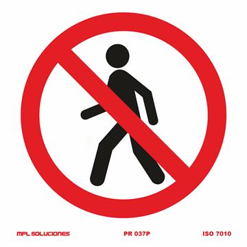 Señal: Prohibido trabajar sin el dispositivo de seguridad