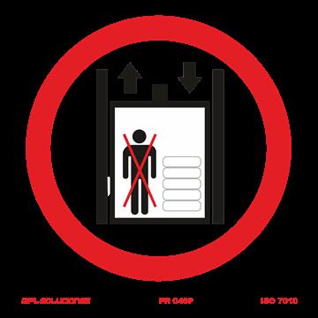 Señal: Montacargas prohibido a personas