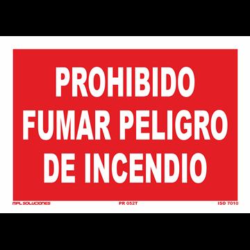 Señal: Prohibido fumar peligro de incendio