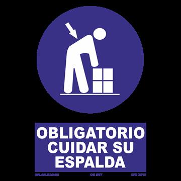 Señal: Obligatorio cuidar su espalda