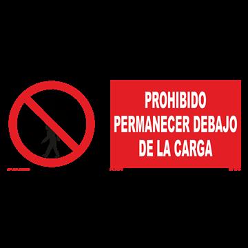 Señal: Prohibido permanecer debajo de la carga