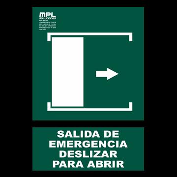 Señal: Salida de emergencia deslizar derecha