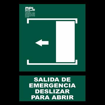 Señal: Salida de emergencia deslizar izquierda